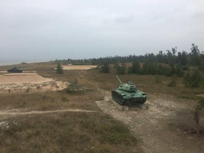 Old Taiwanese Battle Tanks displayed on a Kinmen Beach